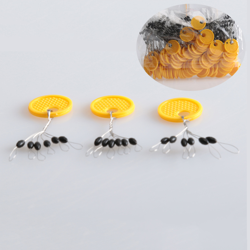 100pcs Yellow Oval Stopper Fishing Bobber Float Space Bean Connector line YEHN