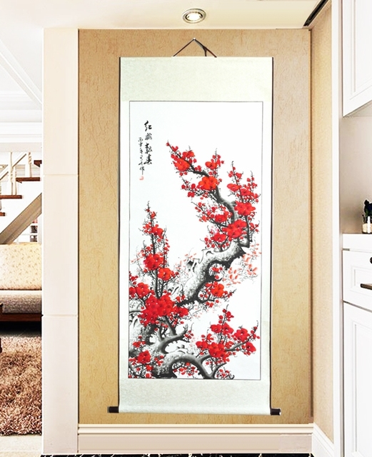 Large scroll painting by numbers japanese red plum