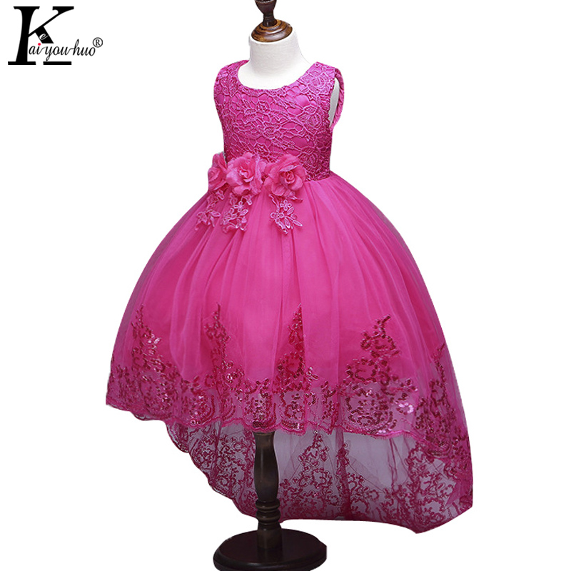Bud Silk Flowers Girls Dress New Summer Princess Dresses For Girls Wedding Dress Children Birthday Party Gown Long Tail Costumes high quality girls baby bright leaf long sleeve lace dress princess bud silk dresses children s clothing wholesale