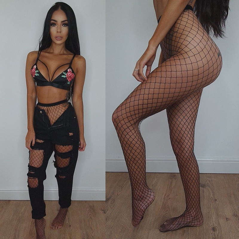 Sexy Mesh Fishnet Women Pantyhose In A Grid 2017 Summer Autumn Black Slim Fishnet Tights Stockings Party Club Hosiery Large Grid