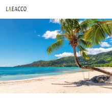 Laeacco Seaside Beach Blue Sky Hammock Backdrop Photocall Photography Background Customized Photographic Backdrops Photo Studio 5x7ft vinyl photography background beach blue sky for studio photo props photographic backdrops cloth 1 5mx2 1m