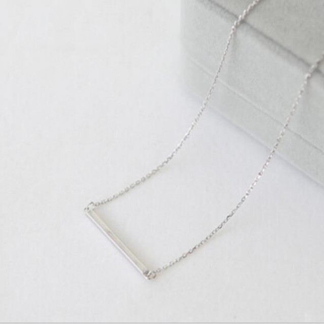 925 Sterling Silver Jewelry Aesthetic Beautiful Smooth Bars Anti-allergy Pendant Necklace  3