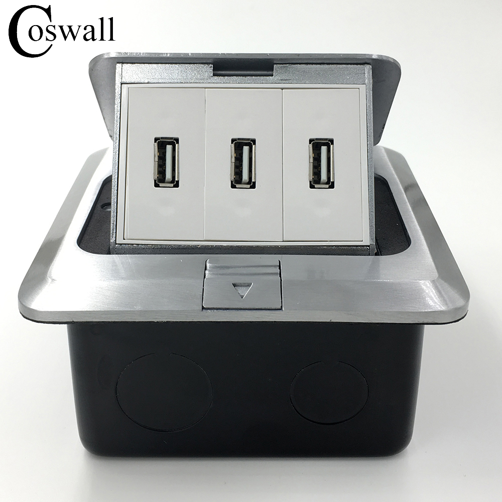 Manufacturer All Aluminum Silver Panel Pop Up Floor Socket 3 USB Charger...