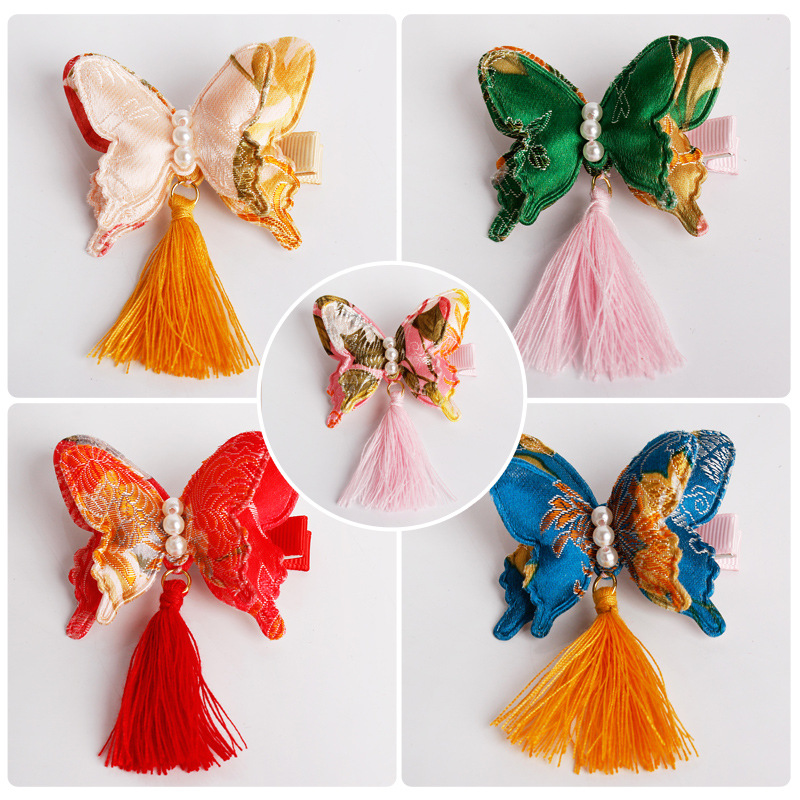 Chinese Style Three-Dimensional Butterfly Hairpins Girls Bowknot Hair Accessories Children Headwear Baby Hair Clips Headdress retro vintage women ladies girls hair clips crystal butterfly bowknot hairpins hair accessories