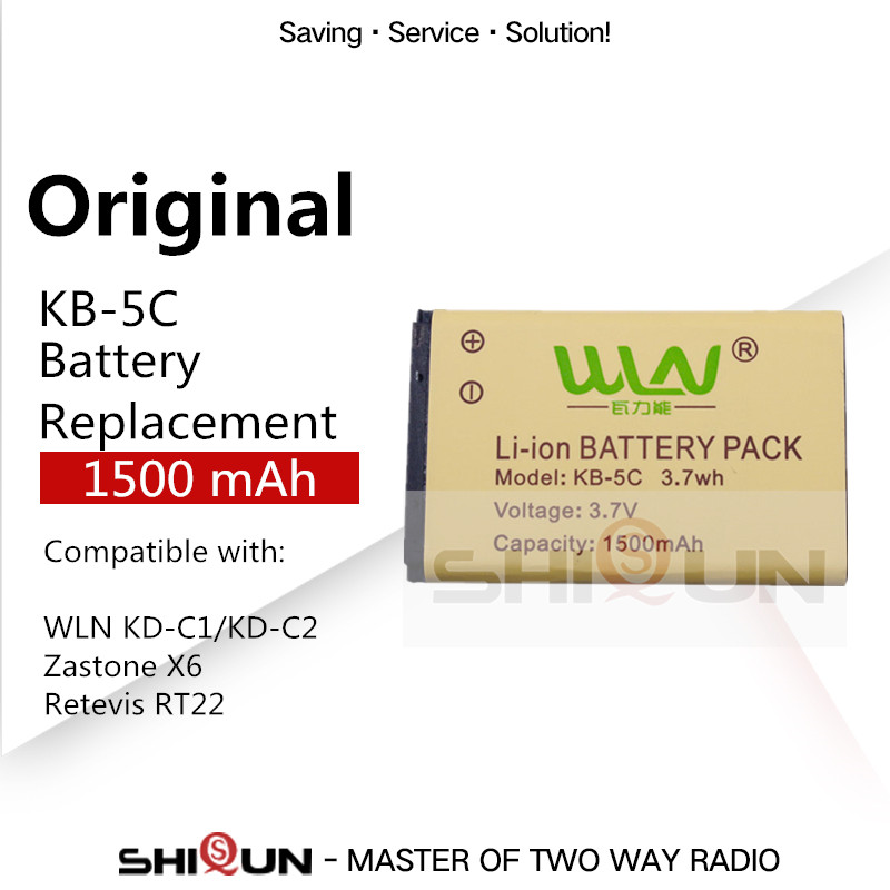 KB-5C 1500mAh Li-ion Battery For WLN Walkie Talkie KD-C1 KD-C2 KD-C10 KD-C50 KD-C51 KD-C52 Compatible RT22 RT15 NK-U1 X6 Radios