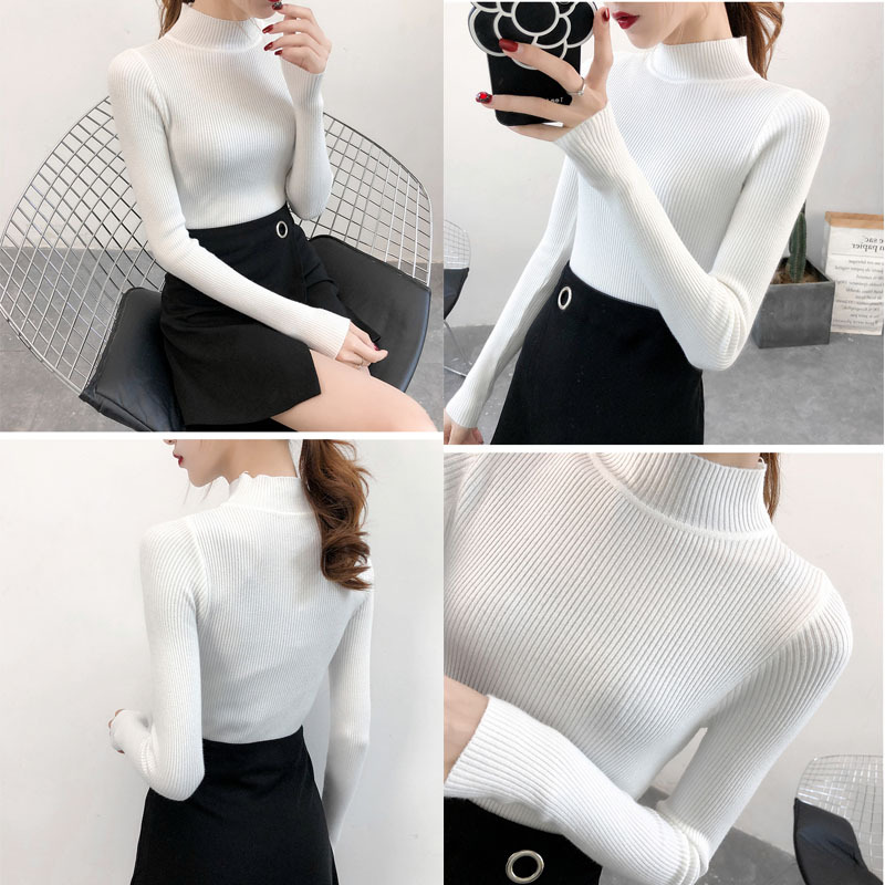 SVOKOR Sweater Women Solid Slim Half-neckline Warm Knitwear Winter Long Sleeve Turtleneck Top 3