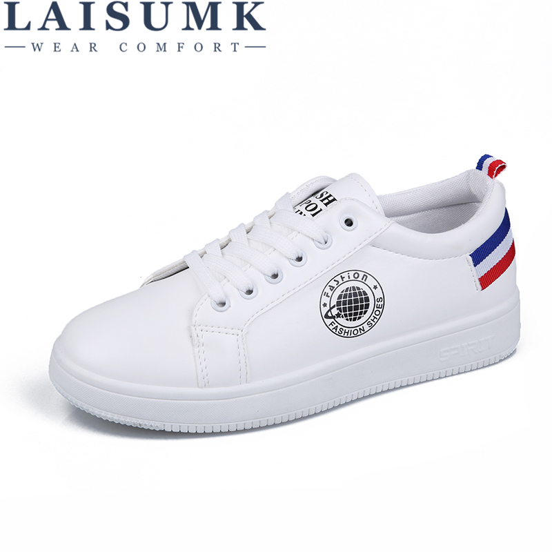 LAISUMK Summer Women Lightweight Flats Lace Up Loafers Leather Shoes Female Casual Simple Shoes Ladies White Round Head Flats in Women 39 s Flats from Shoes
