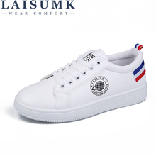 LAISUMK Summer Women Lightweight Flats Lace Up Loafers Leather Shoes Female Casual Simple Ladies White Round Head