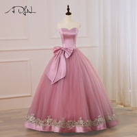 ADLN New Cheap Long Evening Dress Party Elegant Sweetheart Ball Gown Gold Applique Prom Gowns with Big Bow