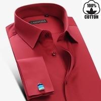 Mens White Red French Cuff Dress Shirt Long Sleeve Men Clothes Men Shirt Slim Fit Brand