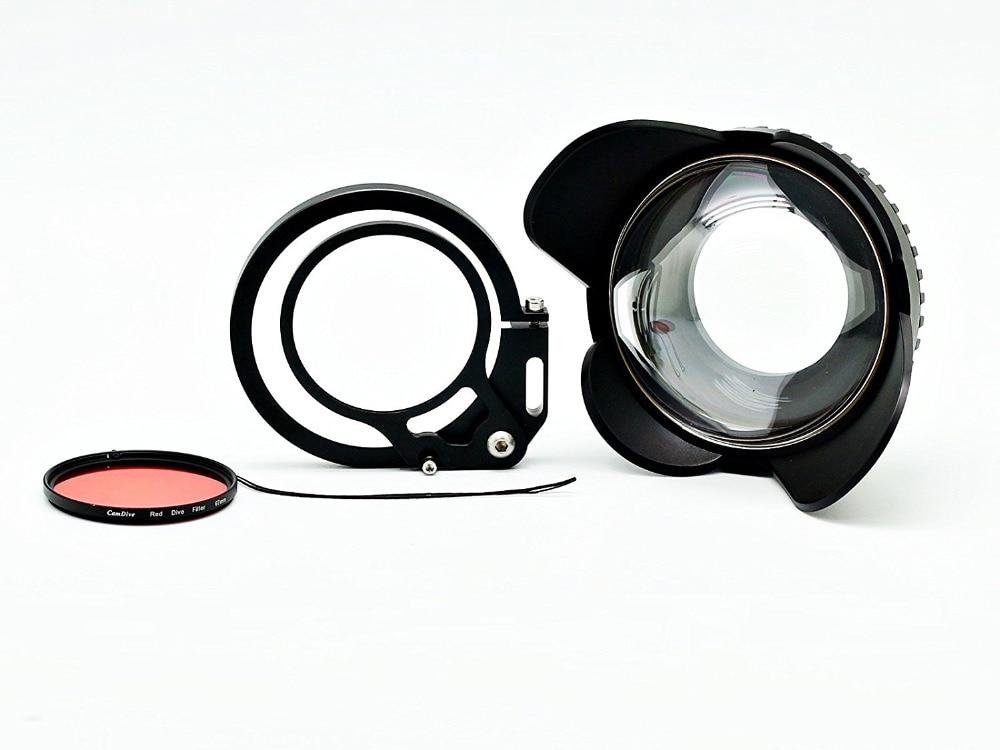 Caméra 67mm 0.7x fisheye grand angle lentille Dôme Port avec flip adaptateur pour sous-marine Étanche boîtiers