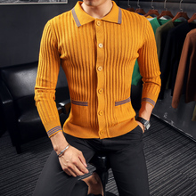 High Quality Men Cardigan Brand New Slim Fit Casual Knitted Sweater Men Turn Down Collar Front Pocket Striped Men's Sweaters 3XL
