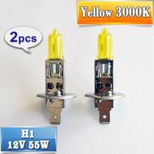 Sinovcle 2 peças (1 par) lâmpada de halogêneo 12v 55w h1, luz amarela 3000k, farol de carro de quartzo, luz automática de xenon, lâmpada para nevoeiro
