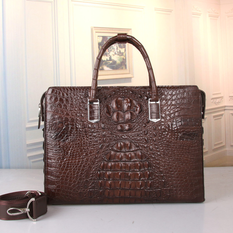 Business Style Genuine Crocodile Leather Male Large 14'' Laptop Briefcase Top-handle Handbag Alligator Skin Men's Shoulder Bag