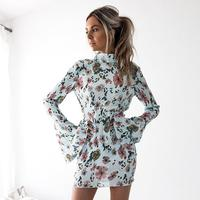 Women Dresses Autumn Floral Printed Long Sleeve Sexy Slim Backless Girls Dress Party Shopping Dresses WS2458E