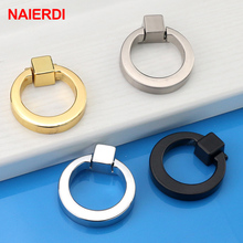 NAIERDI Circle Handles Color Gold Silver Black Ring Zinc Alloy Door Pulls Cabinet Drawer Knobs For Furniture Hardware