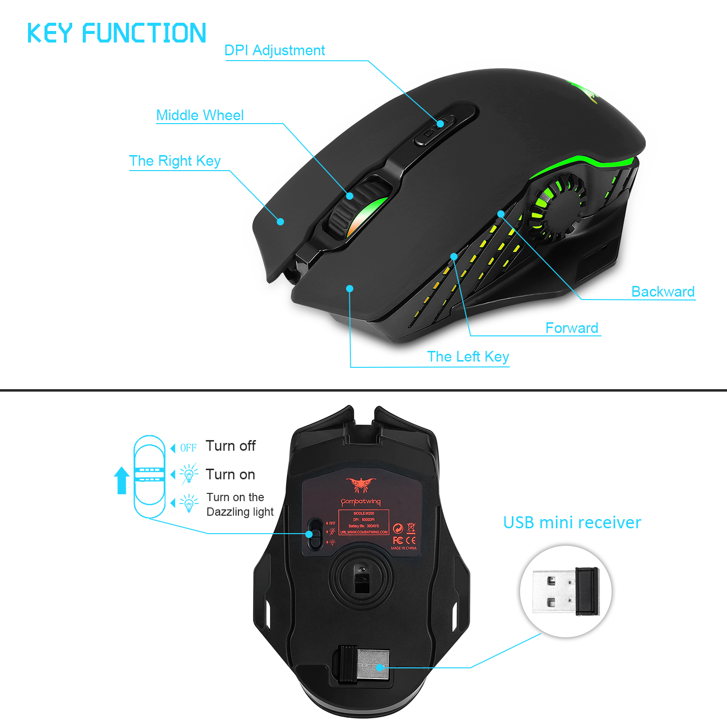 PC gaming mouse 2 4G wireless USB connection dual mode 6000 DPI optics ergonomics LOL Dota 2 PUBG gamer mice with mousepad set in Mice from Computer Office