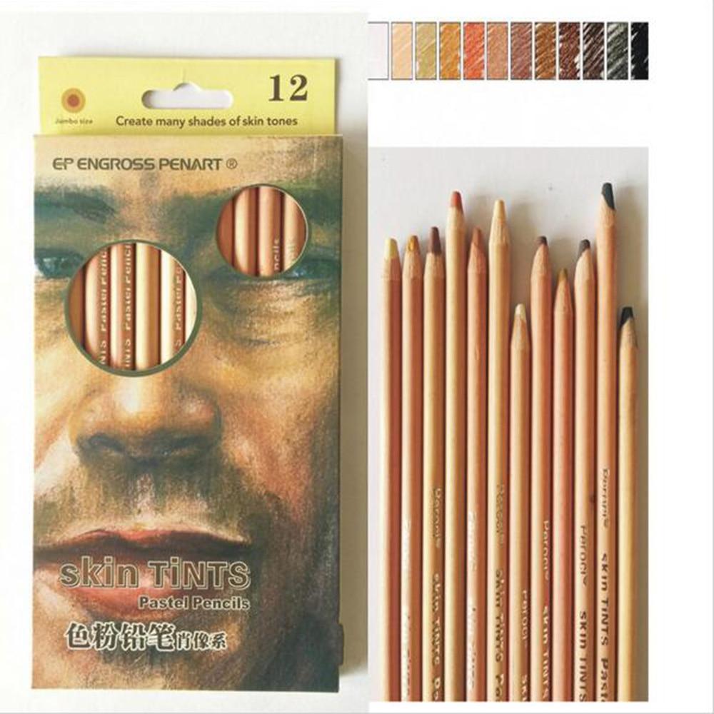 цены на 12 Professional Soft Pastel Pencils Wood Skin Tints Pastel Colored Pencils For Drawing School Lapices De Colores Stationery в интернет-магазинах