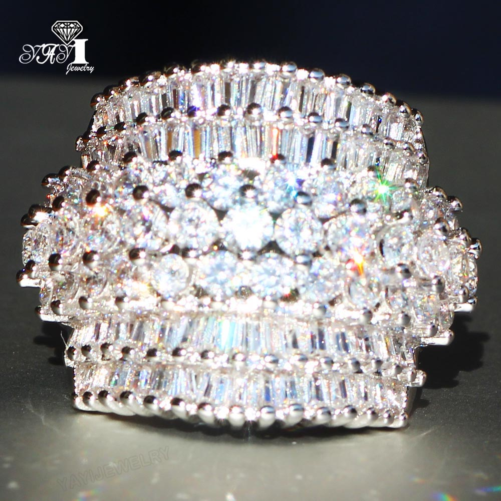 YaYI Jewelry Princess Cut 18  CT White Zircon Silver Color Engagement Rings wedding Heart Rings Girls Party ring  Gifts 936 5