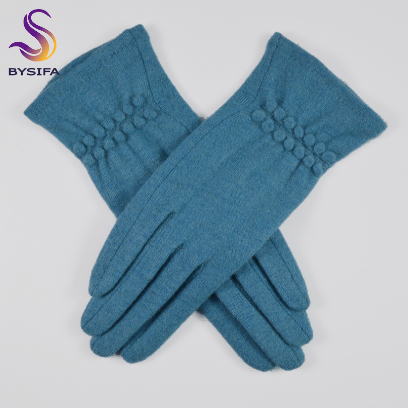 [BYSIFA] Winter Women Cashmere Gloves Fashion Simple Lake Blue Mittens Gloves Soft Warm Slim Touch Screen Ladies Wool Gloves