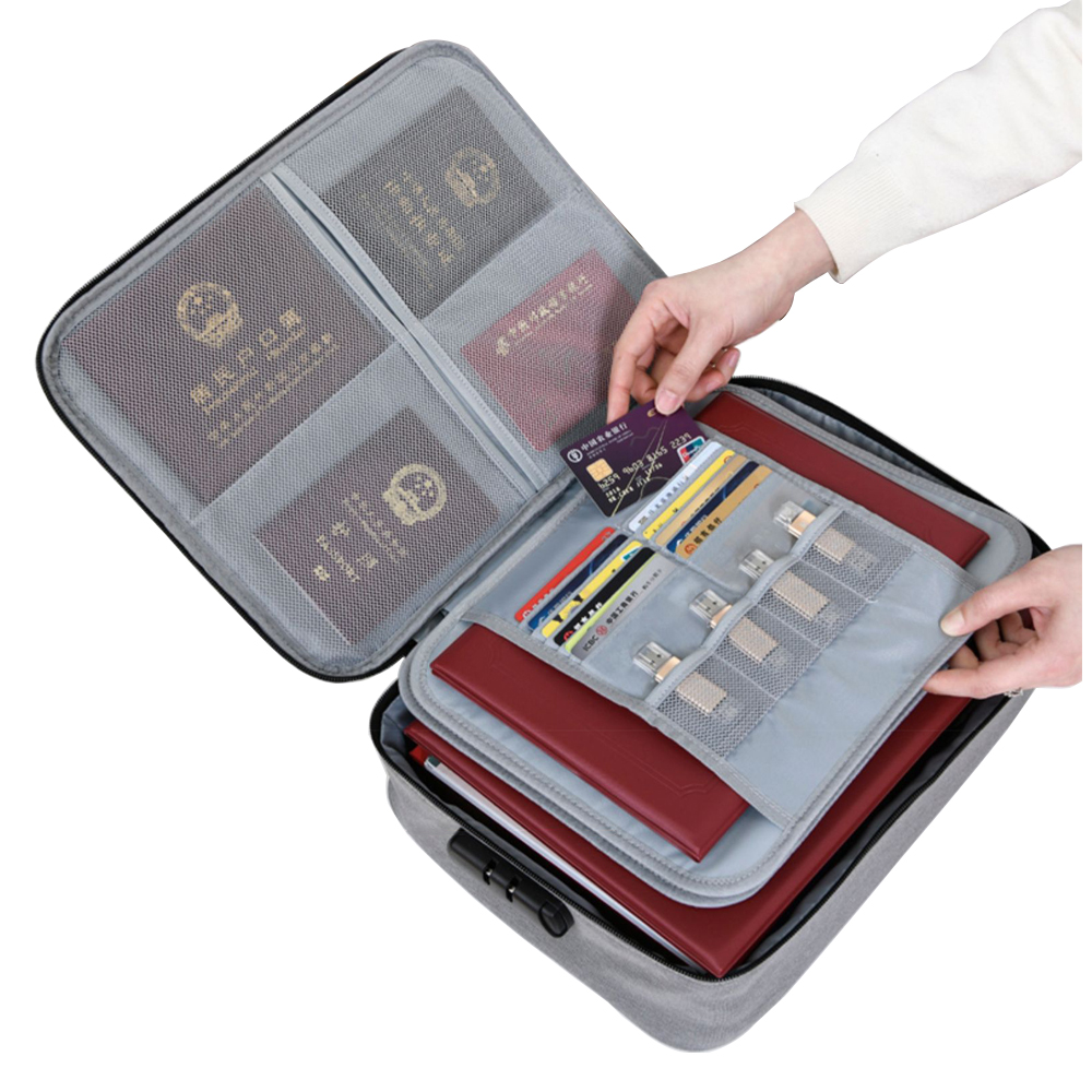 Travel Password Lock Certificate Storage Bag Waterproof Document Bag Bank Card Organizer Passport Pouch Travel Accessories