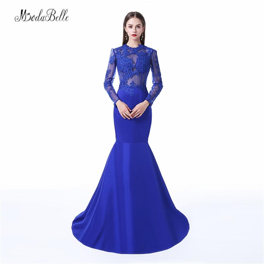 Modabelle Abendkleider 2018 Dubaï Dentelle Robes De Soirée À Manches Longues Elegant Sirène Royale Bleu Formelle Robes De Fête Ballkleider