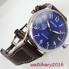 цена на 44mm Parnis blue dial deployment luminous 6497 movement mens watches top brand luxury hand winding mechanical Men's Watch