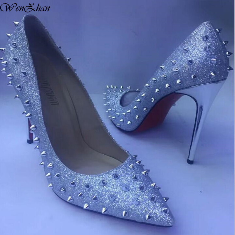 WENZHAN Glitter Spikes Women Fashion Shoes Studded Rivets Silver High Heels Lady Shoes size 36 43 stiletto pumps shoes 79 19