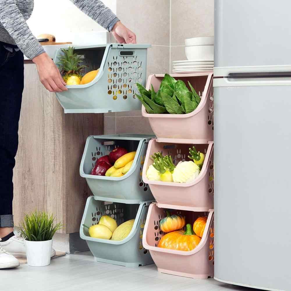 Stackable ตะกร้าเก็บของเล่นพลาสติกกล่องคอนเทนเนอร์ห้องครัวขนมขบเคี้ยวผักตะกร้าห้องน้ำต่างๆชั้นวาง
