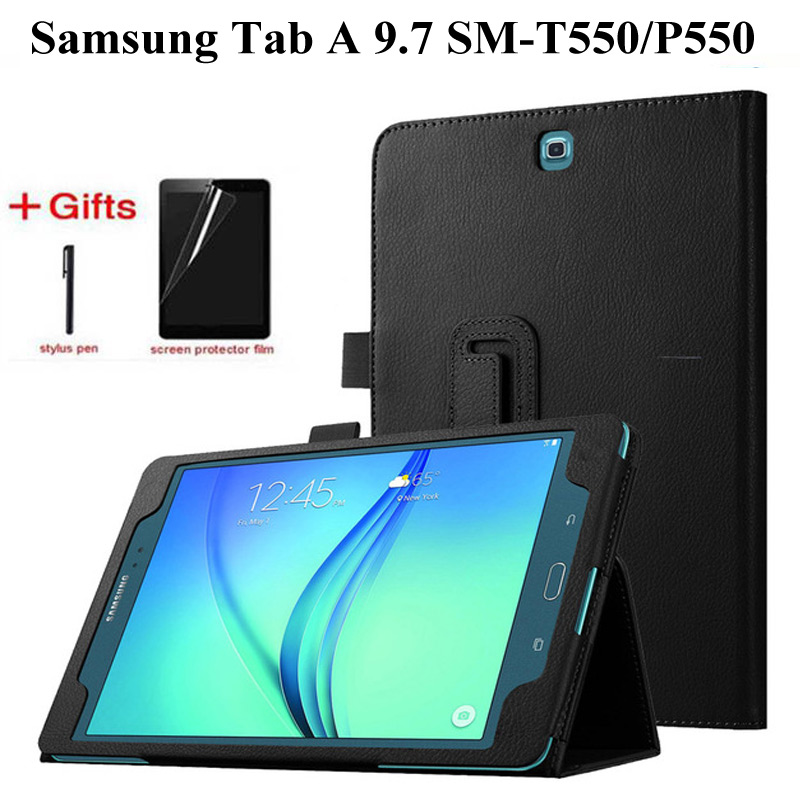 Litchi Style Tablet Case For Samsung Galaxy Tab A T550 P550 SM-T550 9.7 Inch Flip Stand PU Leather Smart Cover Case+Film+Pen