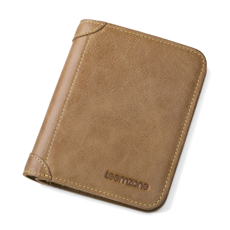ФОТО teemzone New Design Men Leather Bifold Wallet Credit Card Holder Wallet  Pass Case Hipster Vertical Wallets 2 Colors Q07-411