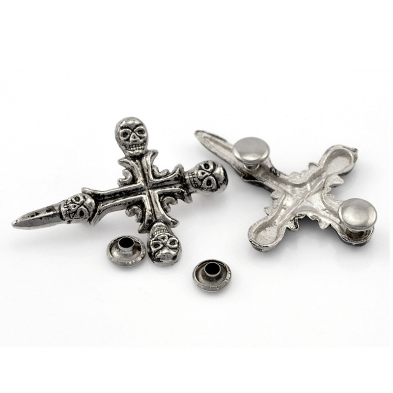 10 Sets Vintage Punk Cross Skull Studs Spots Spike Rivets Antique Silver Tone Bags Clothes Shoes Making 45x32mm(1 6/8