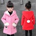 Девушки весеннее пальто 2017 девочек одежда девушки шерстяное пальто мультфильм дети clothing детская одежда 2-12 лет дети куртка для девочек