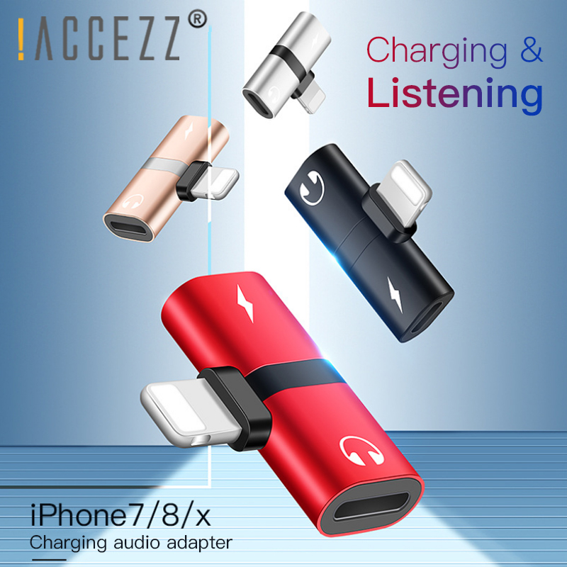 !ACCEZZ 2 In 1 Charger Calling Adapter For Iphone 7 8 Plus X XS MAX XR IOS 10 11 12 Audio Connector Splitter For Apple Adapter