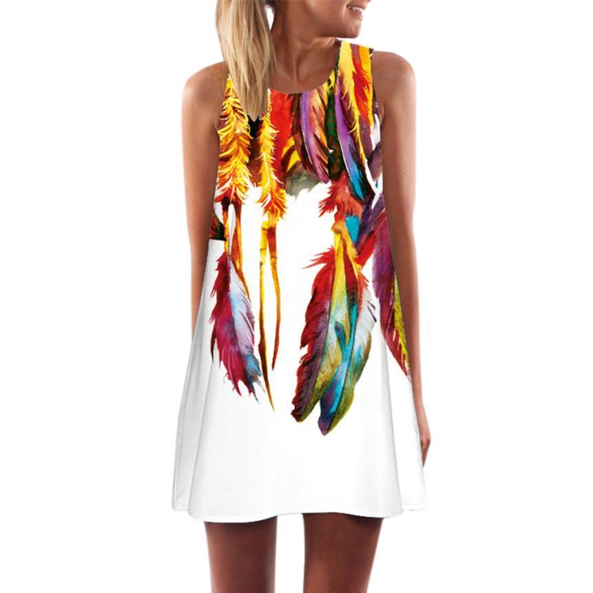 2020 FEITONG Women Loose Summer Vintage Sleeveless 3D Floral Print Bohe Tank Short Mini Dress Casual Shift Dresses