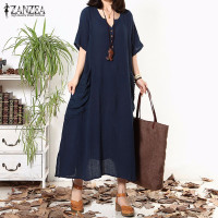ZANZEA Women Summer Autumn Dress 2016 Retro Casual Loose Long Maxi Dress Sexy Ladies V Neck