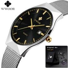 2019 WWOOR Ultra thin Fashion Male Wristwatch Top Brand Luxury Business Watches Waterproof Scratch resistant Men Watch Clock