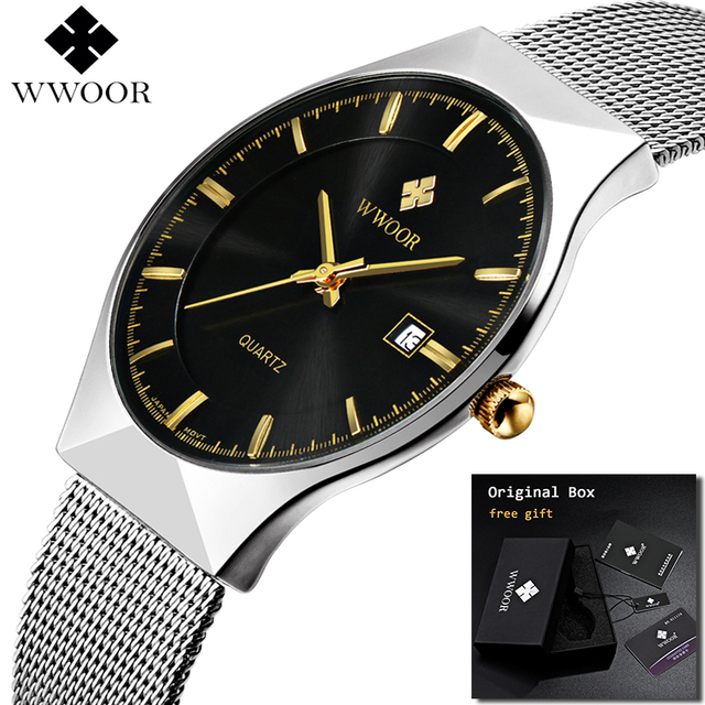 2019 WWOOR Ultra thin Fashion Male Wristwatch Top Brand Luxury Business Watches