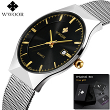 WWOOR Reloj de pulsera ultradelgado para hombre, relojes de negocios de marca superior, resistente al agua y a los arañazos, 2019