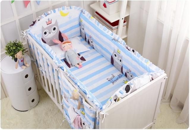 Promoción! 6 unids búho Bebé Ropa de cama cuna conjunto edredón bebé ...