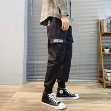 Outdoor 2019 multi pocket Cargo pants men elastic waist embroidery track Overalls trekking tactical teenagers students trousers