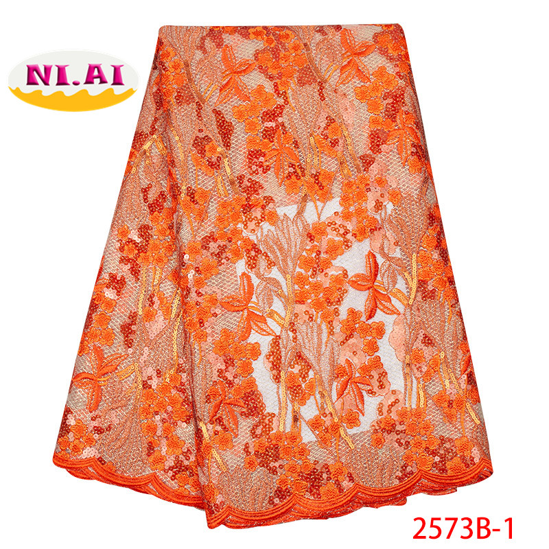 Latest African High Quality Laces 2019 African Lace Fabric Swiss Orange Indian Organza Fabric MR2573B