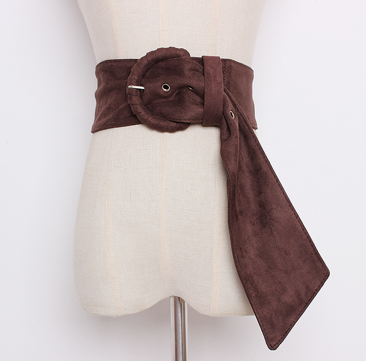Women's Runway Fashion Faux Suede Leather Elastic Cummerbunds Female Dress Corsets Waistband Belts Decoration Wide Belt R1352