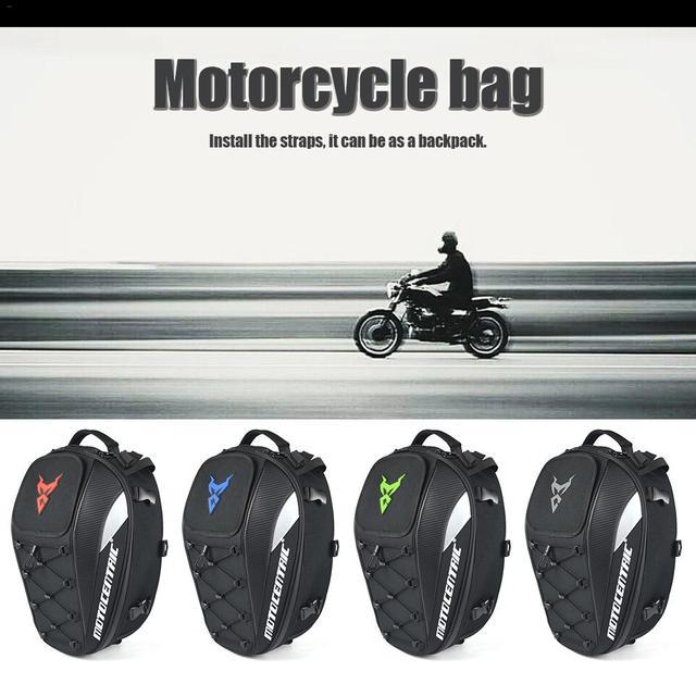กระเป๋าเป้สะพายหลังรถจักรยานยนต์หางกระเป๋าสะท้อนแสงกันน้ำ Multi   functional ทนทานรถจักรยานยนต์ด้านหลังที่นั่งกระเป๋า 4 สีขายส่ง