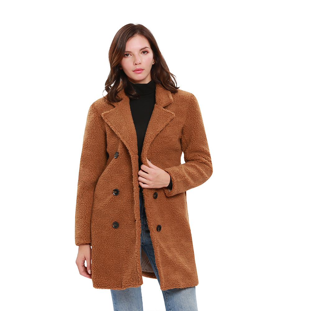 Fourrure Camel Streetwear Faux Survêtement Chaud Casual Pardessus fgYyb76