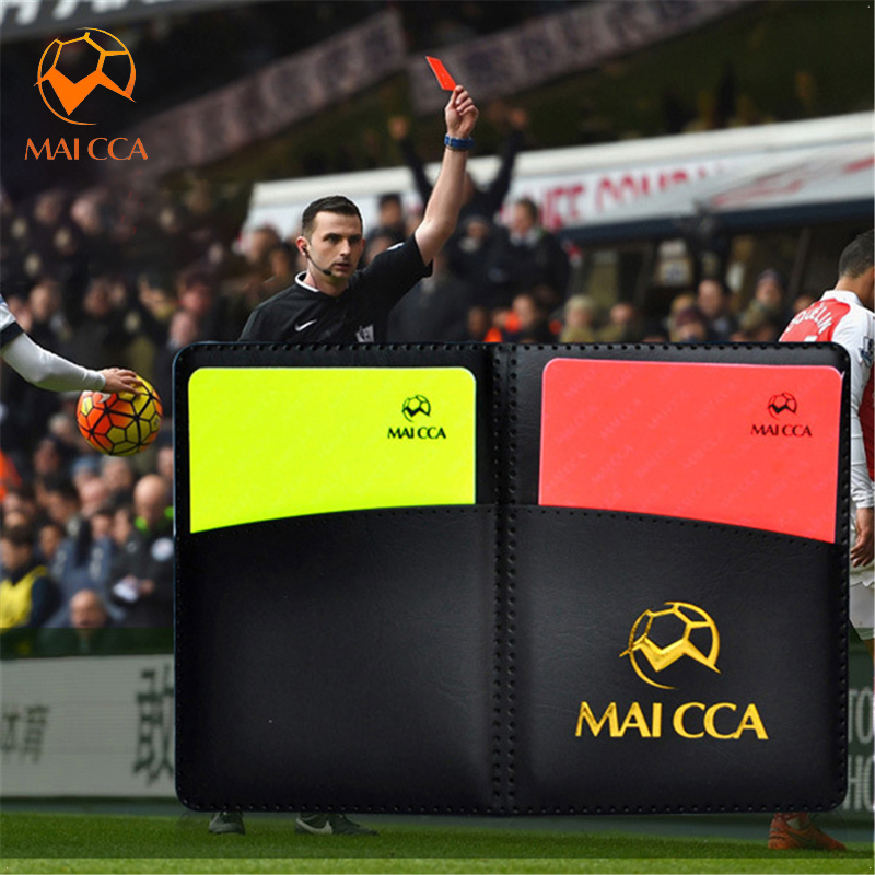 Useful Sport Football Soccer Referee Wallet Notebook With Red Card And Yellow Card
