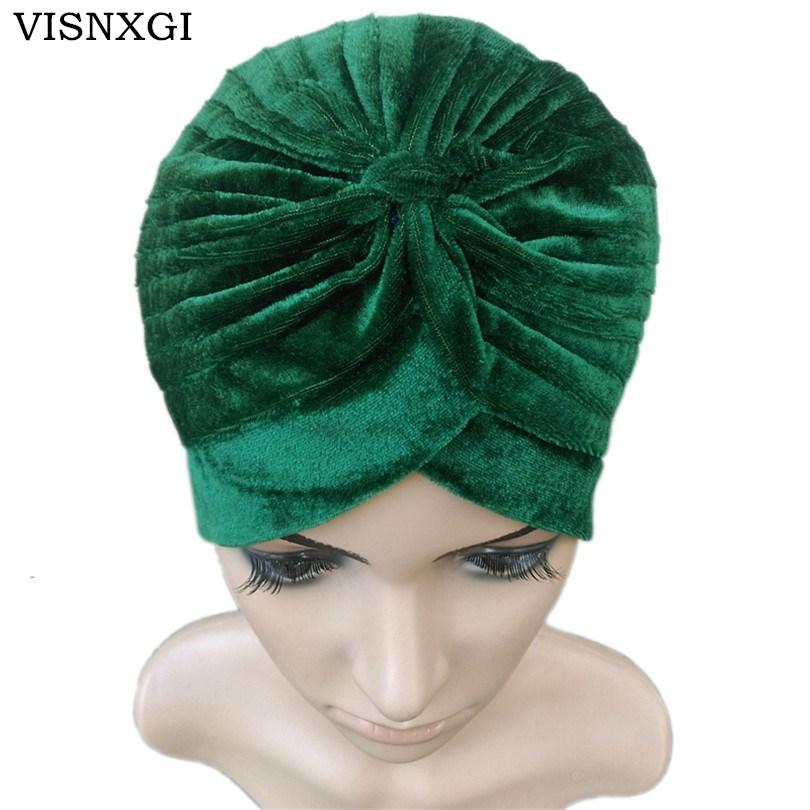 VISNXGI 2019 New Europe Women Winter Fashion Black Dark Blue Green Color Velvet Muslim Turban Hats Indian Caps High Quality