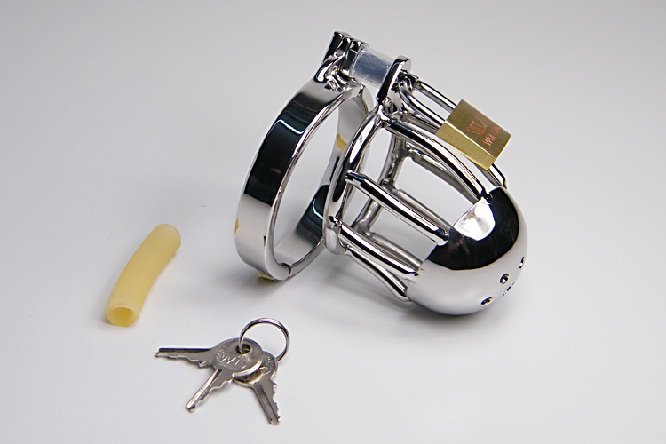 Cock Cage Penis Rings Stainless Steel Metal Chastity Device In Adult Games , Fetish Sex Toys For Men