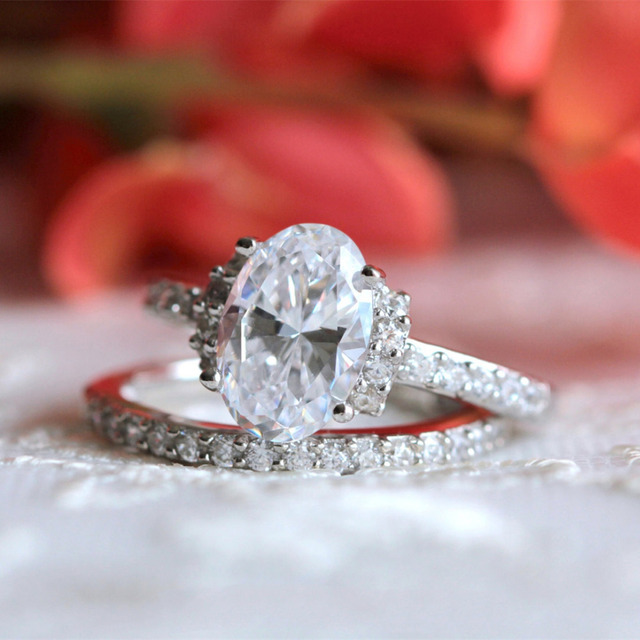 3.63CTW Oval Cut Simulated Diamond 925 Sterling Silver with Gold Wedding Engagement Ring