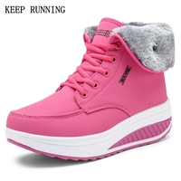 Women S Winter Warm New Comfortable Sports Shoes Outdoor Waterproof Lace Up Flat Sneakers Pink Blue